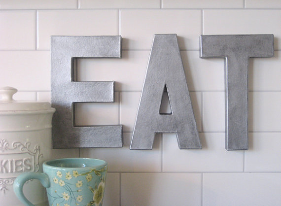 12eat faux zinc letters pottery barn recreation eat kitchen letters letter wall hanging